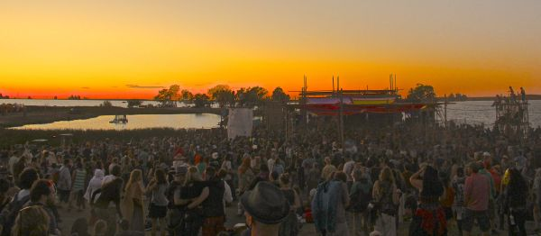 crowd sunset